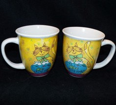 Set of Two 2 Gibson Cat Lover Lives Here Crazy Kitty Ceramic Coffee Cup ... - $33.99