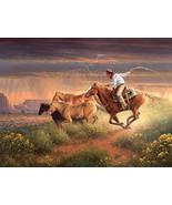 Jack Terry CowboyArt Hot Pursuit Giclee Canvas Print Free Shipping - $75.00