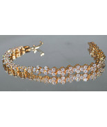 Valentines Gift 7.50 ctw Sparkling White CZ Bracelet AAA Grade 18kt Gold... - $29.95