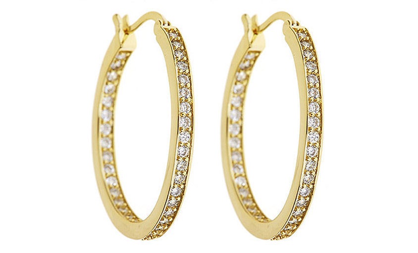 18kt Yellow Gold Plated Hoop Earrings with CZs Brand New Special Gift