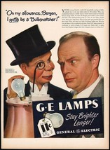Vintage Magazine Ad General Electric Lamps 1946 Edgar Bergen Charlie Mc Carthy - $12.99