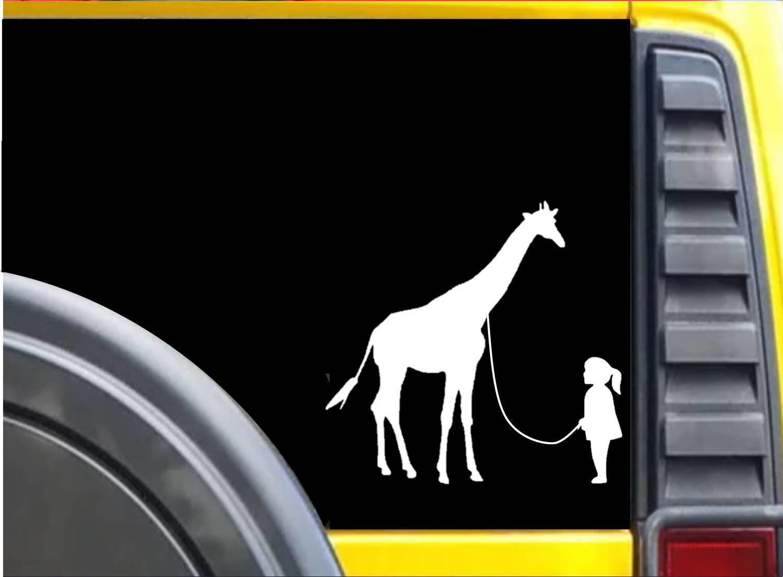 Giraffe on a leash Sticker K624 8 inch giraffe decal