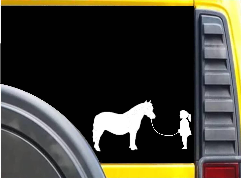 Girl walking Mini Horse Sticker k625 8 inch miniature horse decal