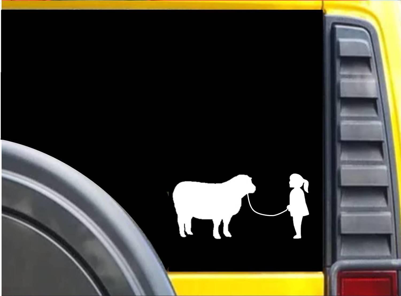 Girl Showing Sheep Sticker k631 8 inch dog decal