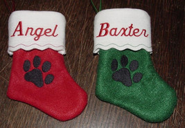 "6"" Personalized Embroidered Pet Felt Christmas Stocking with Paw Print - $3.75"