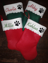 "12"" Embroidered  Personalized Pet Christmas Stocking - Cat - $8.50"