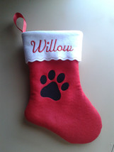 "12"" Embroidered  Personalized Pet Christmas Stocking - Dog - $9.50"