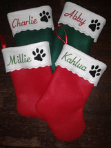 "17"" Embroidered  Personalized Pet Christmas Stocking - Cat - $10.95"