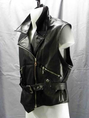 VGT Essential Club Synthetic Belted Faux Leather Vest Size: S