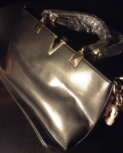 AQPJ Black Faux Leather Large Tote B#22