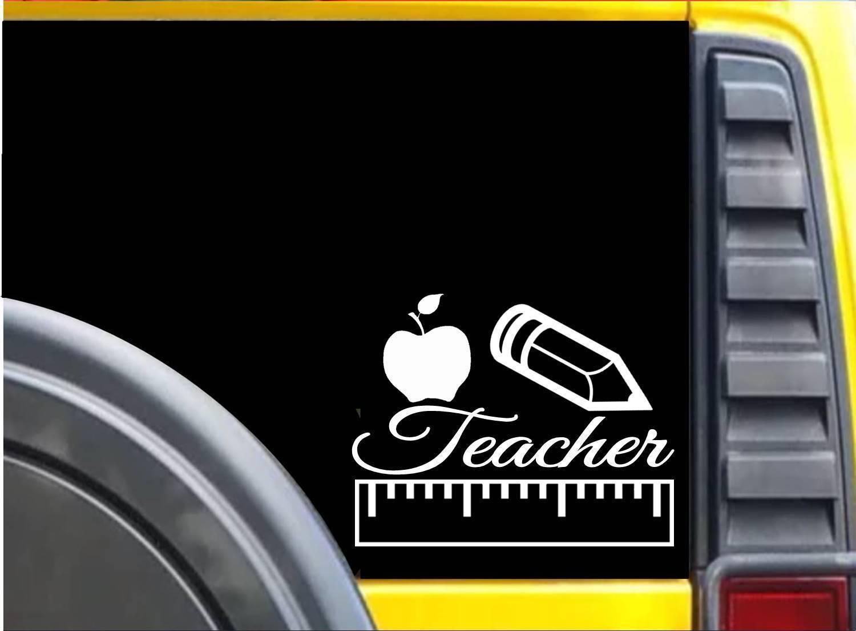 Teacher Apple Ruler Pencil K636 8 inch Sticker teaching decal