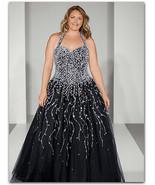 Alfred Angelo Ball Wedding Halter Gown Black w/Stunning Rhinestones NWT ... - $349.99