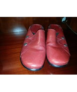 CLARKS Bendables Red Leather Clogs Mules w/ Silver Side Buttons 10M EUC - $24.99