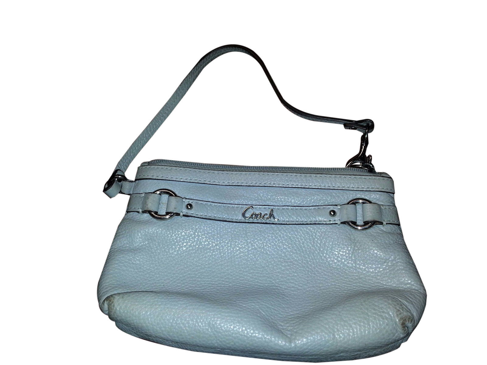 COACH Gallery Leather Wristlet - Gray/Silver Hardware