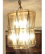 Vintage Ext Large Smoked Beveled Glass & Brass Foyer 12-light Chandelier - $99.99