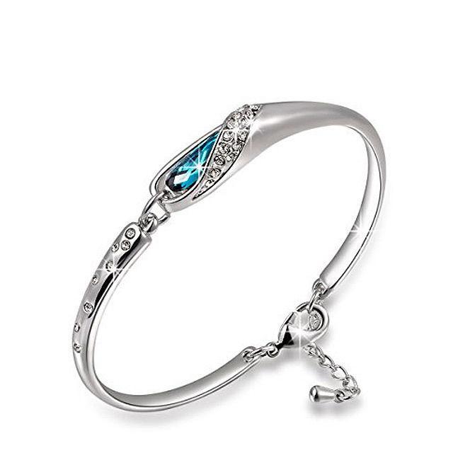 Valentines Gift Blue Swarovski & CZ Bracelet Brand New White Gold Plated