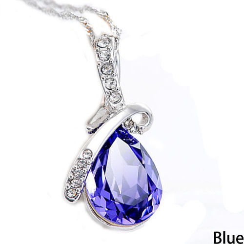 18kt White Gold Plated AAA CZ Blue Tear Drop Pendant & Necklace Brand New