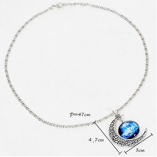 Antique Look Silver Moon Pendant and Necklace Brand New Great Gift
