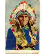 American Indian Chieftan Silk Post Card vintage 1906 - $35.00