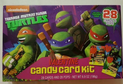 NINJA TURTLES^ 28 Cards+Lollipops VALENTINES DAY Candy Swap Kit Exp. 7/18