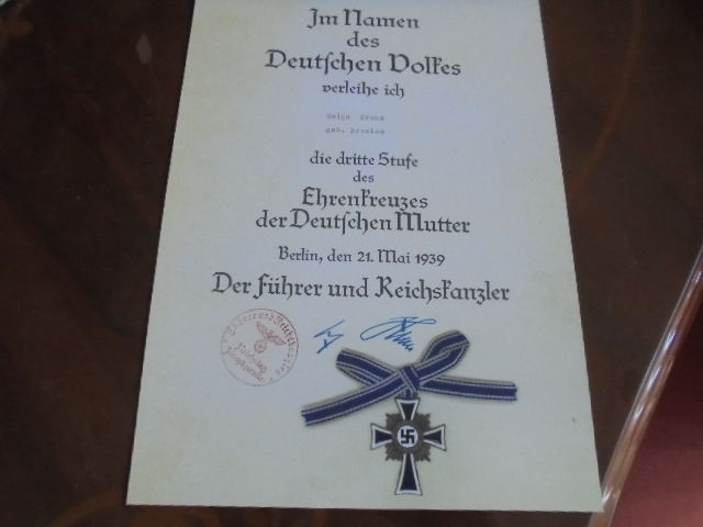 WW11 German certificate for the mothers cross