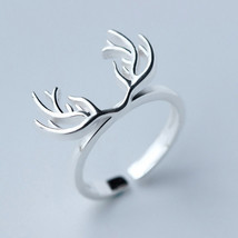 Deer silver sterling silver free size ring - $33.95