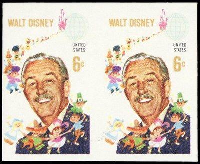 1355b, Mint NH 6¢ VF Disney Imperforate ERROR Pair of Stamps - Stuart Katz