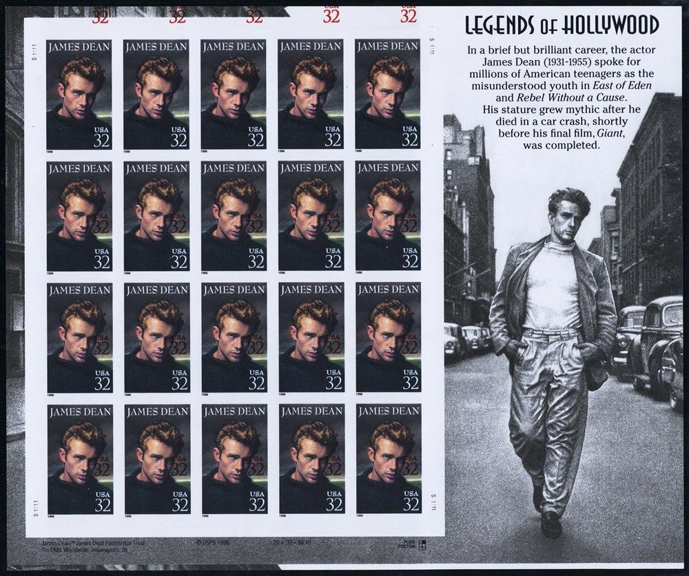 3082a,b,c Unique 32¢ James Dean ERROR Sheet With PFC Ex W.S. Floyd - Stuart Katz