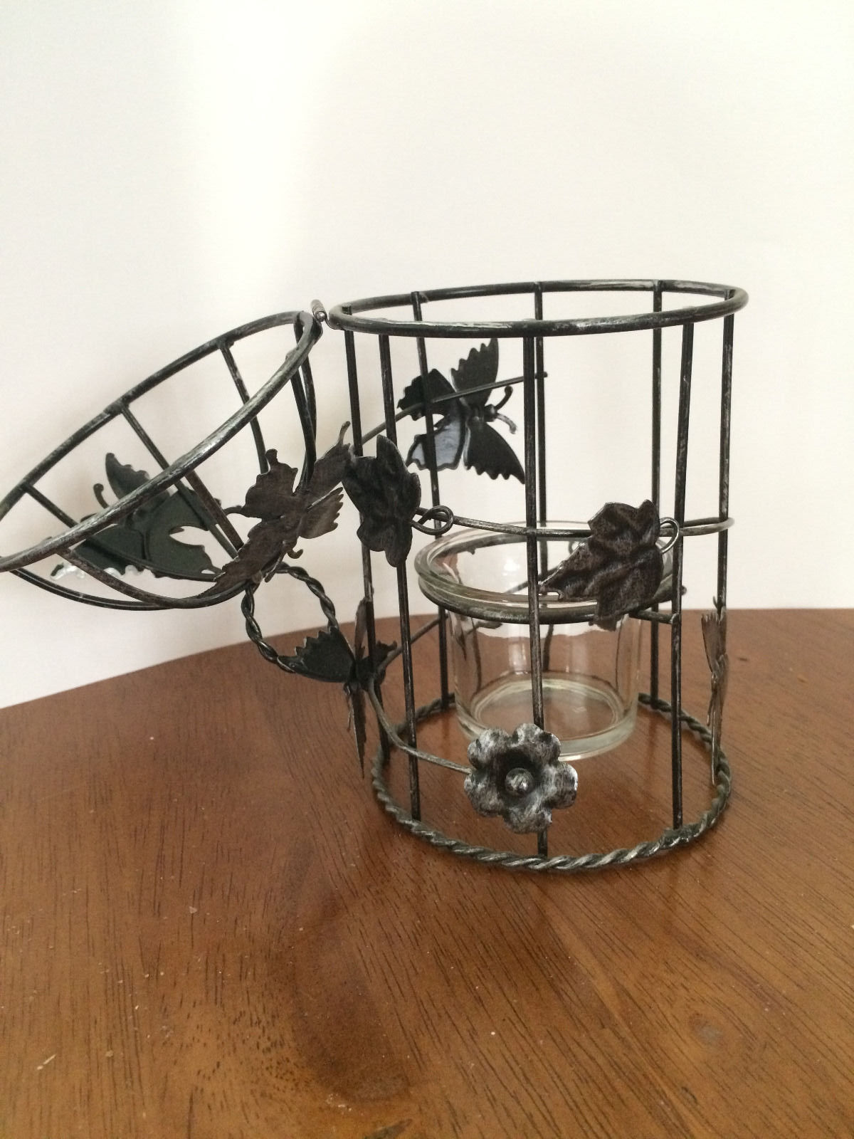 HANGING METAL BIRD CAGE W/VOTIVE GLASS CANDLE HOLDER