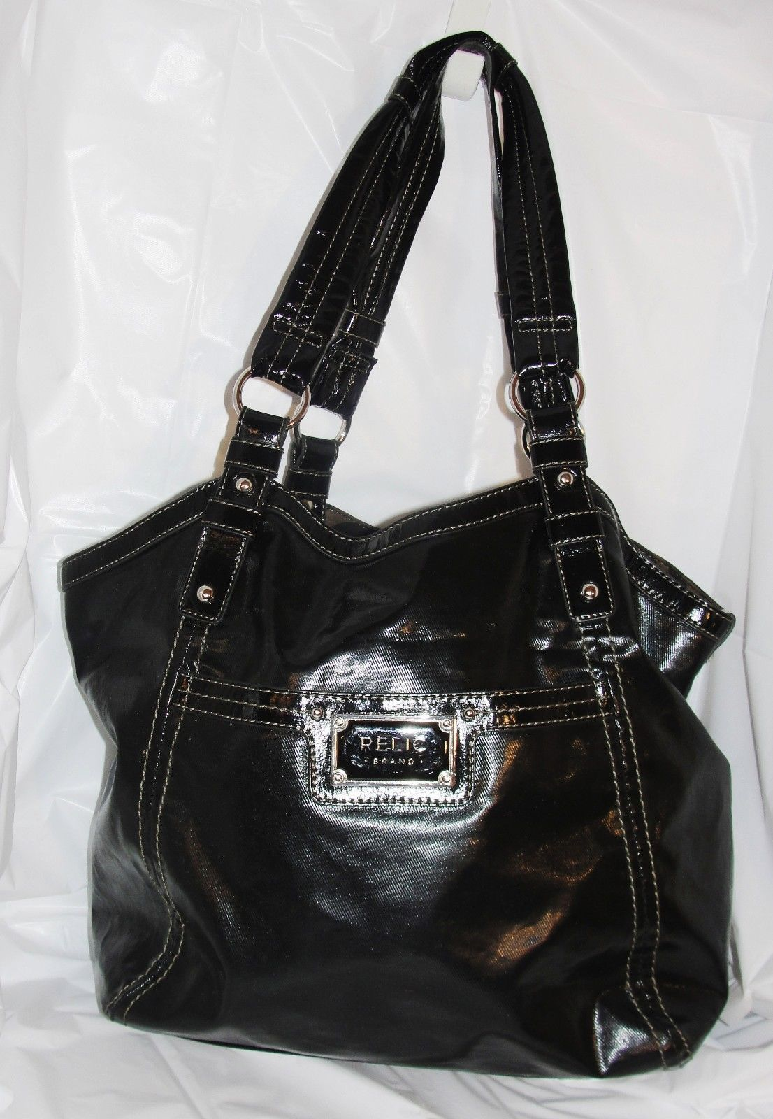 RELIC BRAND X-Large Tote/Shopper Shoulder Handbag Black Patent/Vinyl
