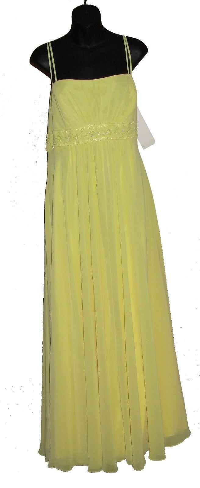 Davids Bridal F12495 Spaghetti Strap Chiffon Beaded Empire Sunbeam Yellow Sz 20
