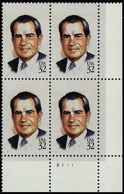 2955a, MNH 32¢ Nixon Red Color Omitted ERROR Plate Block RARE - Stuart Katz
