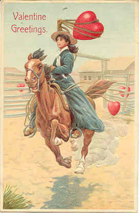 A Cowgirl Valentine Vintage 1914 Post Card