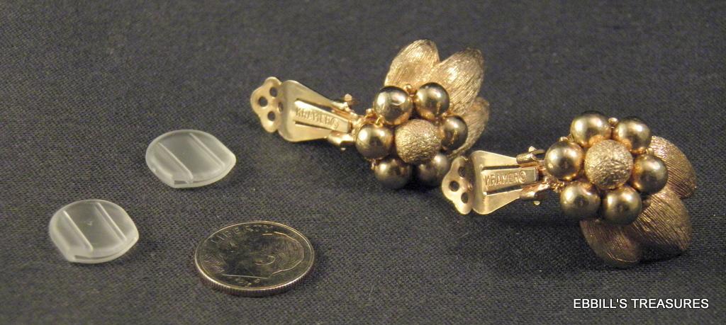 signed kramer of new york textured satin golden floral clip-on earrings 3976