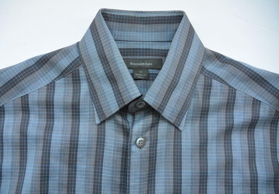 Ermenegildo Zegna Shirt M Striped Cotton Gray Long Sleeves Casual EUC