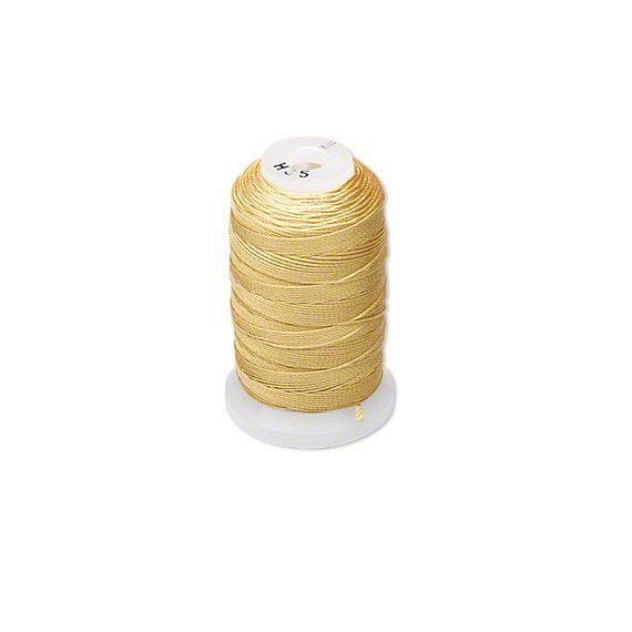 Gold Yellow Natural Pure Silk Beading Cord, Thread, Size E, 200 meters Spool