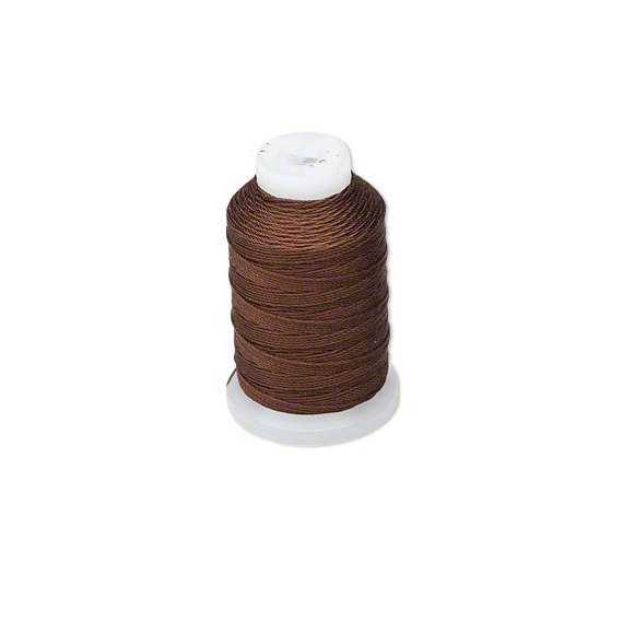 Chestnut Brown Natural Pure Silk Beading Cord, Thread, Size E, 200 Meters Spool