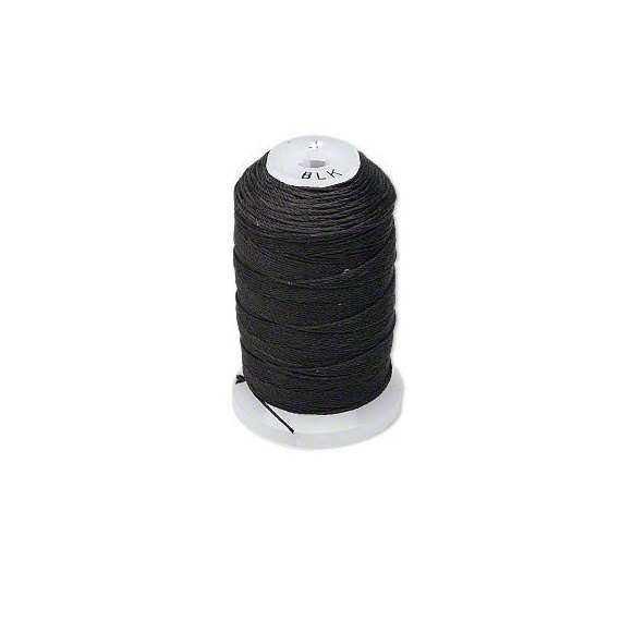 Black Natural Pure Silk Beading Cord, Thread, Size E, 0.0128 Inch, 200 meters
