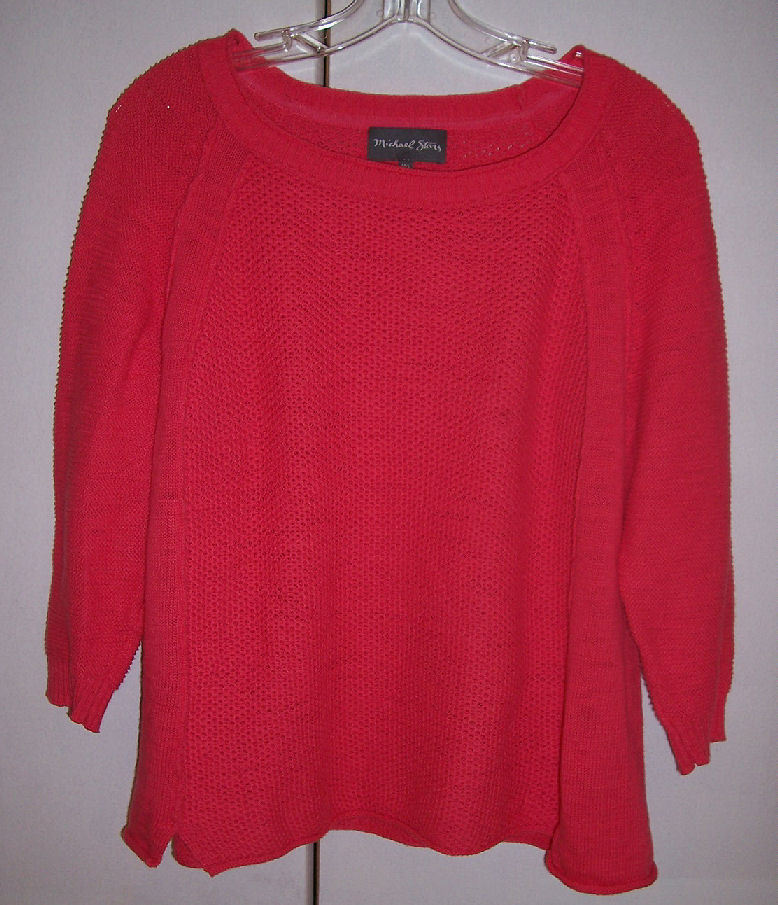 Michael Stars Coral Pink Knit Top Sweater Raw Look Oversized Sz Med/Large EUC