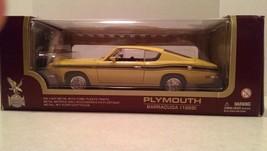 1:18 Road Legends 1969 Plymouth Barracuda 383 Yellow Black Stripe Diecas... - $34.48