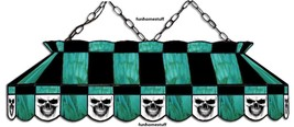 """BLACK + TEAL SKULL 40"""" STAINED GLASS POOL TABLE LIGHT HANGING BAR GAME ROOM LAMP - €925,79 EUR"""