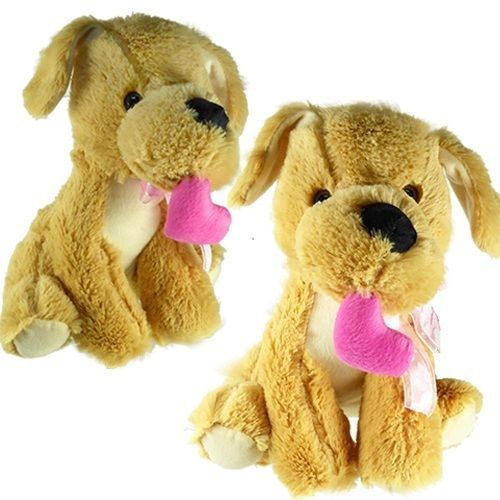 Plush Stuffed Puppy Dog w/ Pink Heart in Mouth & Button Eyes (LOT OF 6X)