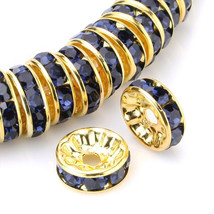 100 Pcs Gold Plated Crystal Rondelle Spacer Beads 10mm. Style - Montana - $19.95