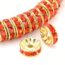 100 Pcs Gold Plated Crystal Rondelle Spacer Beads 10mm. Style - Hyacinth - $19.95