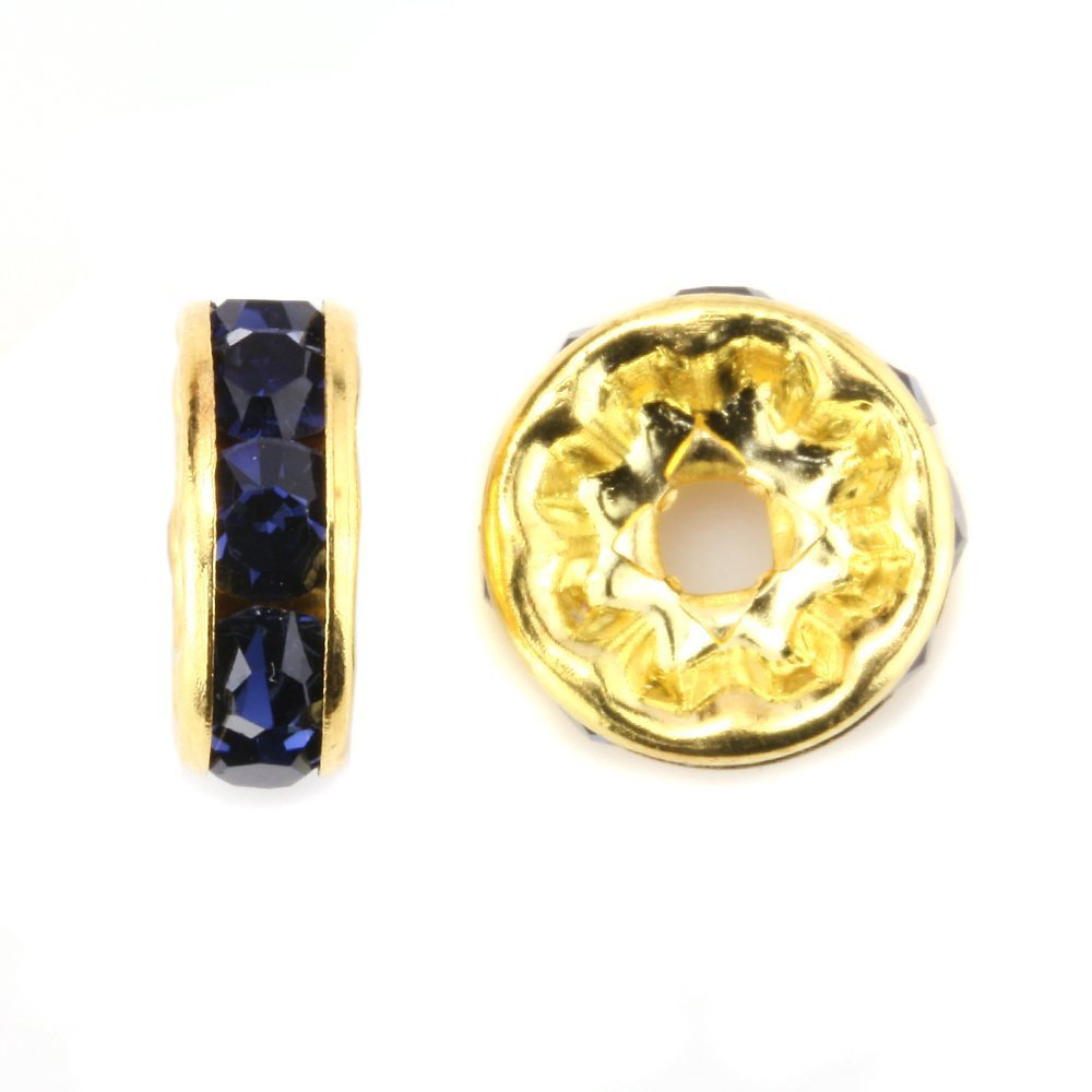 100 Pcs Gold Plated Crystal Rondelle Spacer Beads 10mm. Style - Montana