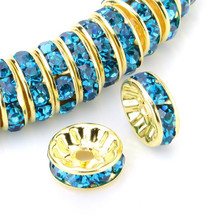 100 Pcs Gold Plated Crystal Rondelle Spacer Beads 10mm. Style - Blue Zircon - $19.95