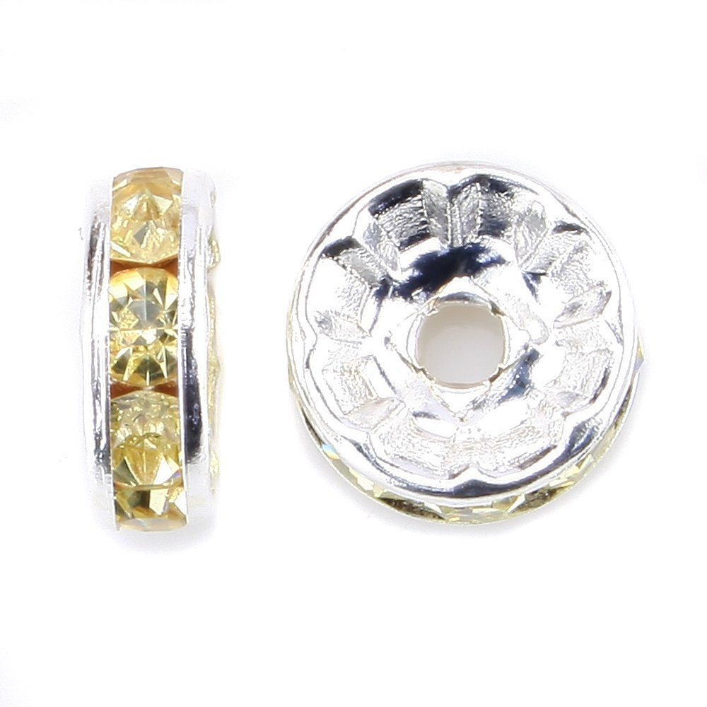 100 Pcs Gold Plated Crystal Rondelle Spacer Beads 10mm. Style - Jonquil