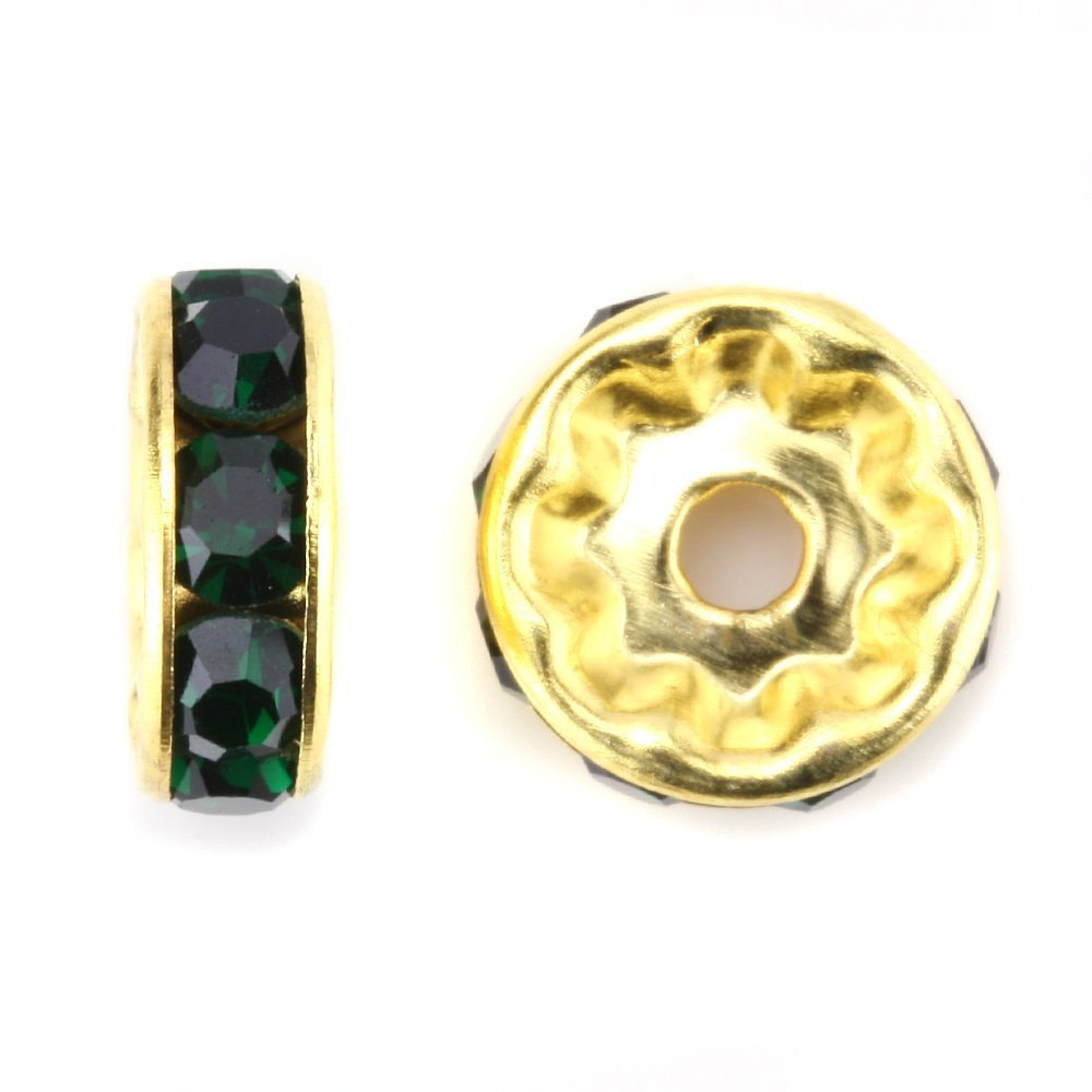 100 Pcs Gold Plated Crystal Rondelle Spacer Beads 10mm. Style - Emerald Green