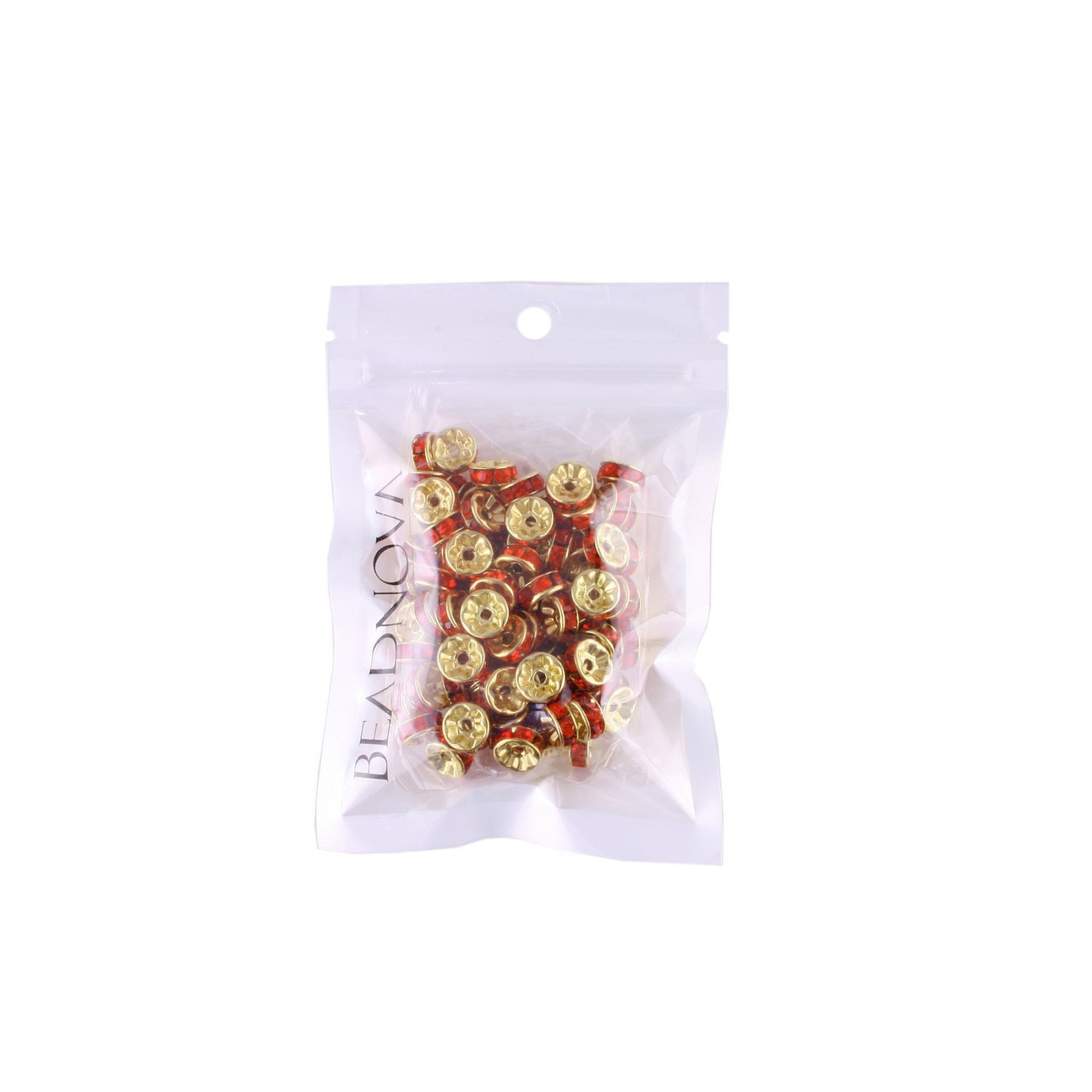 100 Pcs Gold Plated Crystal Rondelle Spacer Beads 10mm. Style - Hyacinth