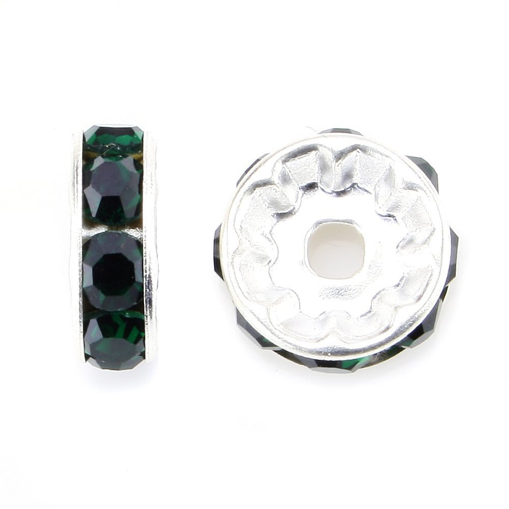 100 Pcs Silver Plated Crystal Rondelle Spacer Beads 4mm. Style - Emerald Green